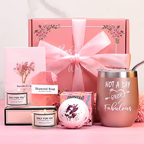 Birthday Gifts For Women-Relaxing Spa Gift Box Basket For Her Mom Sister Best Friend Unique Happy Birthday Bath Set Gift Ideas -Best Birthday Gift Boxes For Women