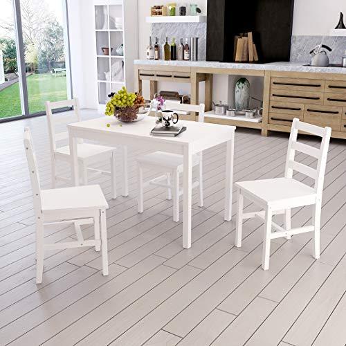 Conjunto de mesa de madera + 4 sillas para comedor, cocina, salón, café, color blanco