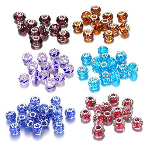 60 Stück Glasperlen Großloch European Perlen Mehrfarbig für Schmuckherstellung Armbänder Halsketten,Mix Glasperlen Muranoglas Perlen Charms European Beads 4.8 mm für Armbänder Ketten Schmuck DIY
