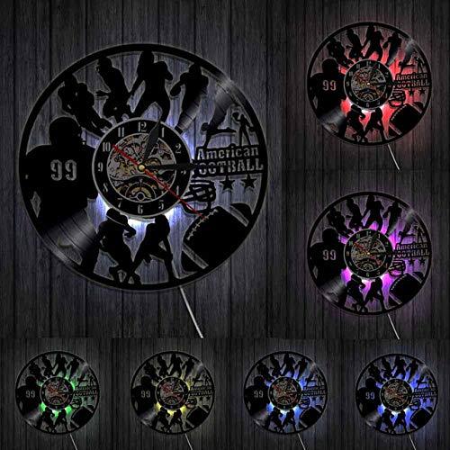 HIDFQY Fútbol Americano decoración del hogar diseño Moderno Reloj de Pared Rugby Jugador de Rugby Silueta Disco de Vinilo Reloj de Pared Deporte Entusiasta Regalo con LED