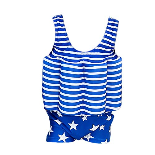 Gifts Treat Kinder Schwimmanzug Baby Junge Mädchen Sonnenschutz Schwimmende Badebekleidung mit einstellbarem Auftrieb UPF 50 (Blau Star, XS)…