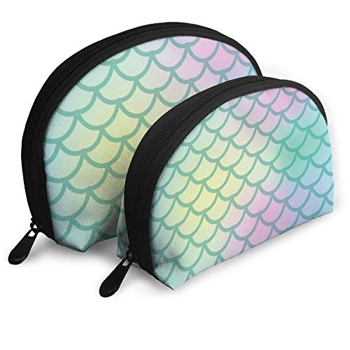 XCNGG Fish Scale Seamless Pattern Cosmetic Pouch Clutch Portable Bags Handbag Organizer with Zipper 2Pcs