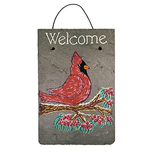 Welcome Winter Cardinal Chalk Art Painted Sign on 12 by 8 Inch Slate Board