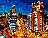 Natthink Pintar por números Adultos Gran Vía de Madrid. Kit de Pintura por números con Pinturas y Pinceles. 50x40 cm. Paisaje Gran Vía Madrid - España (Sin Marco)