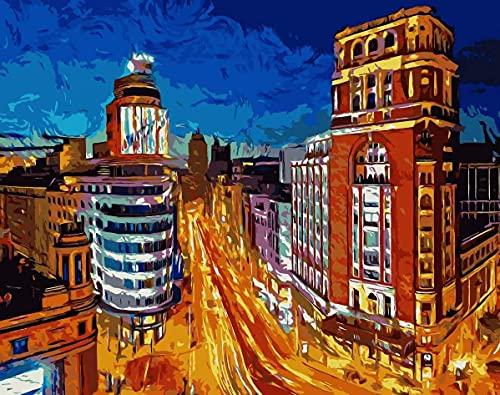Natthink Pintar por números Adultos. Kit de Pintura por números con Pinturas y Pinceles. 50x40 cm. Paisaje Gran Vía Madrid - España (Sin Marco)
