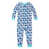 Lamaze Organic Baby Boys Stretchie One Piece Sleepwear, Baby and Toddler, Zipper, Blue Triangles, 2T