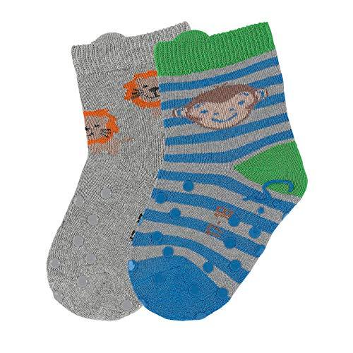 Sterntaler ABS-Krabbelsöckchen, Doppelpack, Affen-Motiv, Alter: 6-12 Monate, Größe: 17-18, Blau