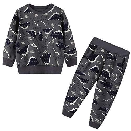 FILOWA Jungen Trainingsanzüge Kinder Streetwear Jogginganzug Dinosaurier Sweatanzüge Pullover Sweatshirts Jogginghose Sportanzug Suit Dunkel Grau Alter 2 3 4 5 6 7 Jahre