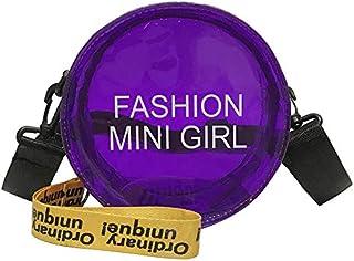 Adebie - Transparent Women Crossbody Bag Female Round Jelly Messenger Bag Summer 2019 Simple Clear Cute Small Square Circular Fashion Bag Purple []