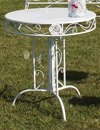 linoows Romantik Gartentisch Rose, Garten Klapptisch, Balkontisch, Tisch Weiß