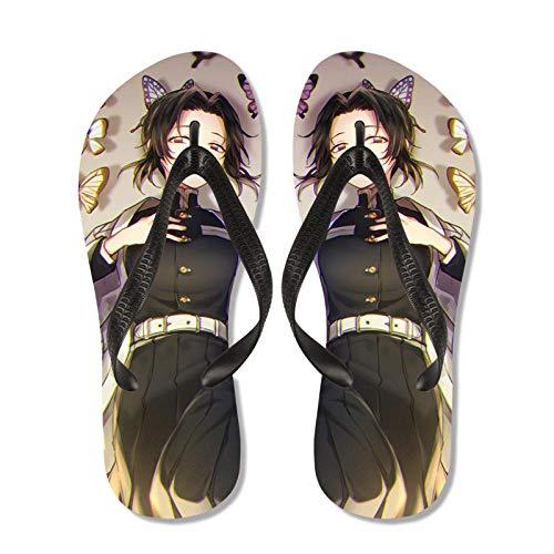 Demonio Slayer Anime Slippers Men Summer Japonés Cosplay Flip-Flaops Butterfly Ninja Sandalias Casual Beach Zapatos Niños Antideslizantes Zapatos-012_Niño L (35-36)