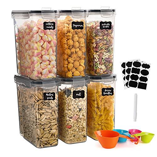 GoMaihe Vorratsdosen Set, Aufbewahrungsbox Küche Organizer 2.5L*6 Stück, Luftdicht Frischhaltedose Plastik mit Deckel, Vorratsbehälter zum Aufbewahrung von Müsli Mehl Kaffeebohnen Cornflakes Spaghetti