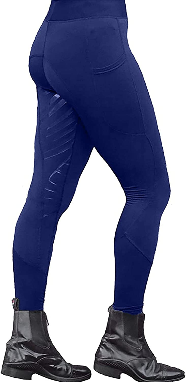 Zxvrara Women's Sports Riding Tights Knee-Patch Breeches Equestrian Yoga Pants Outdoor High Waist Legging Trousers Pockets
