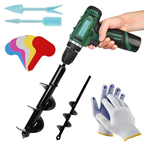 Bulb Planting Auger Drill Bit, Earth Auger Spiral Drill Bit Set, Garden Planter Bulb Auger Drill Bit, Hand Drill Digger Auger Planting Tool, Umbrella Post Hole Digger with Gloves, Weeding Tool, Label