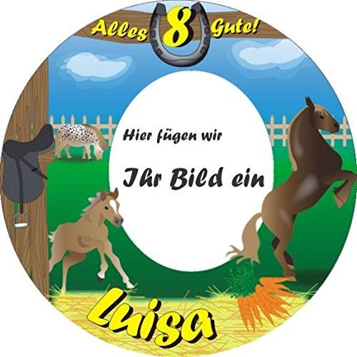 Runde Auflage für Fototorte zur Mottoparty Pferde bzw. Pferdchen +Vorname +Alter vom Geburtstagskind, auch für Kindergeburtstag auf dem Bauernhof, Tortenbeschriftung ALLES GUTE