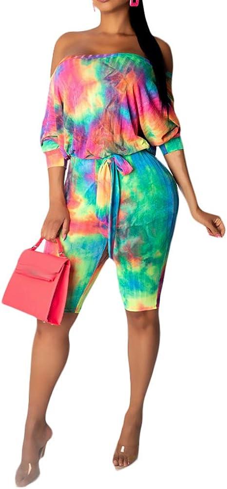 Ophestin Womens Floral Print Off Shoulder Half Sleeve Backless Jumpsuit Rompers with Belt