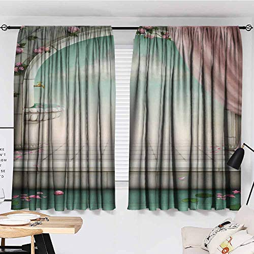 Decor Curtains, Harem Style Authentic Oriental, Marble Picture Powder Fairy Magical Design Lovers Artistic Decor, Courtyard Porch Gazebo Decoration, 55'x72', Pink Turquoise