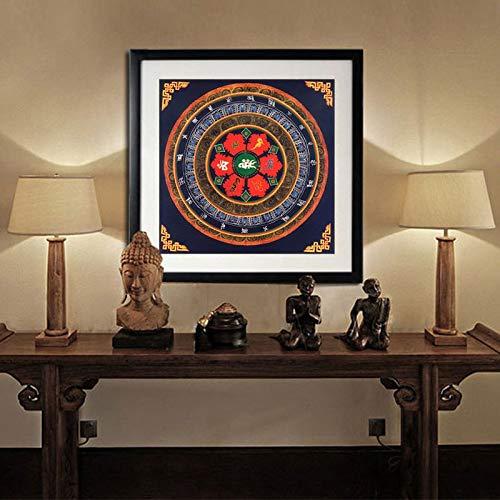 REAPP Tibetanische Thangka. Tibet Thangka Kunst Malerei Gedruckt Wohnkultur Tibetanische Mandala Glaube Buddha Öl Leinwand Kunst Malerei Wand (Color : Kostenlos, Size (Inch) : 30CMx30CM)