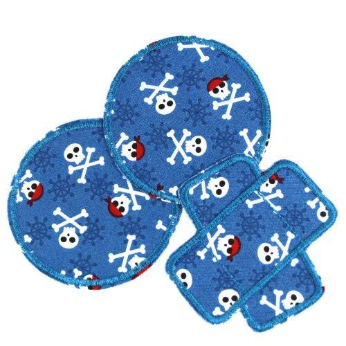 Hosenflicken Piraten Set 3 Flicken zum Aufbügeln als Knieflicken blau skull Aufbügler rund 2 ø 8cm und 1 Pflaster 8,3 x 8cm Patch