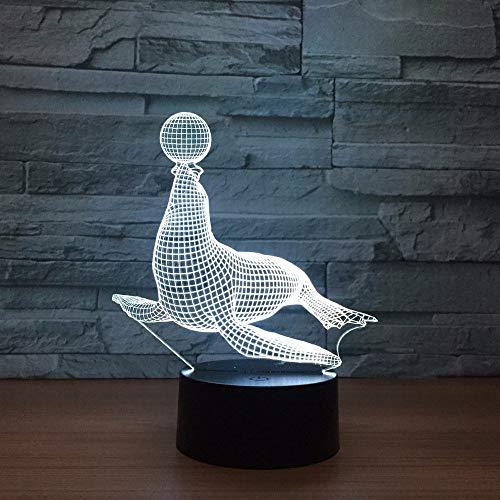 Sea Lion Circus Lámpara de ilusión 3D Luz de noche 3D para niños niñas Lámpara de escritorio de mesa 16 Lámpara de decoración que cambia de color Regalos Festival de cumpleaños Navidad para adole
