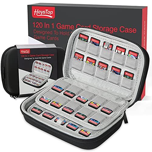 HEYSTOP Switch Spiele Aufbewahrung Tasche für 120 Nintendo Switch/Switch Lite/Switch OLED Spiele oder SD Karten,Switch Game Card Case Tragbare Aufbewahrungsbox,Schwarz