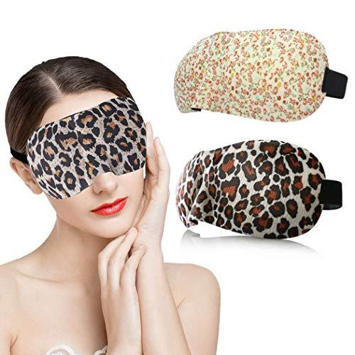 IYOU Máscara de dormir impresa 3D contorneada de leopardo amarillo cubierta de ojo de viaje Yoga siesta sueño máscaras de ojos suaves y cómodas para mujeres y hombres (paquete de 2)