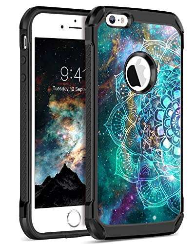 BENTOBEN iPhone SE Case 2016, iPhone 5S Case, iPhone 5 Case, Shockproof Dual Layer Glow in The Dark Hybrid Hard PC Soft TPU Bumper Protective Phone Cover for 4-Inch iPhone SE/5S/5, Mandala in Galaxy