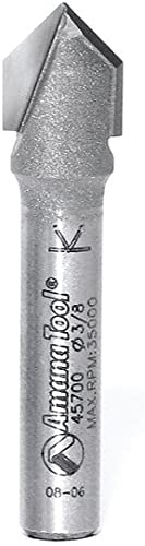 """discount Amana Tool sale - 45700 Carbide Tipped V-Groove 90 Deg x 3/8 Dia online sale x 7/16 x 1/4"""" Shank outlet online sale"""