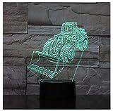 Christmas Carrello per raschietto 3D Lampada Illusione RGB Luce notturna Lampadina a LED MulticoloreDissolvenza Festività Vangatrice Pala Giocattolo per bambini USB