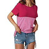 Moonuy,Frauen Kurzarm-Oberteile, 2018 Mode V-Ausschnitt Damen Striped Patchwork Bluse Kleidung T-Shirt mit Taschen Bleistift Pullover Freizeit Sweatshirt für Frauen (EU 40 / Asien XL, D)