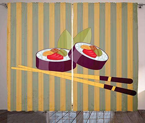 ABAKUHAUS Sushi Gordijnen, 2 rollen met stokjes, Woonkamer Slaapkamer Raamgordijnen 2-delige set, 280 x 175 cm, Veelkleurig