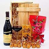 algawe Geschenkset Grande Amore   Holzkiste Geschenkbox   Italienischer Rotwein 0,75l   Lindt...