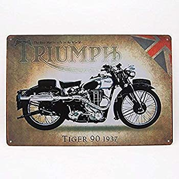 2puppet& Tin Sign Metal Tin Sign 8x12 inches Triumph Tiger 90 1937 Motorcycle Decoration Iron Painting Metal Decorative Wall Art