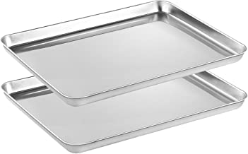 Stainless Steel Baking sheets Set 2, HEAHYSI Baking Pans for Oven 2 Pieces & Cookie Sheets Set, Rectangle Size 16.1x12.1x1inch,Non Toxic & Healthy,Superior Mirror Finish & Easy Clean, Dishwasher Safe