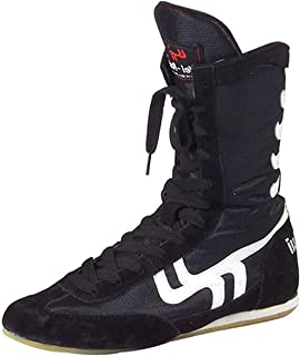 WJFGGXHK Boxing Shoes, High Top Wrestling Boots Rubber Sole Boxer Boots for Men Women Boys