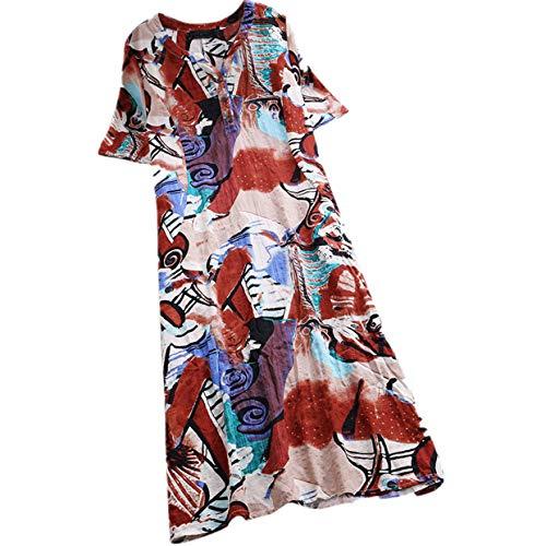 Kolila Damen Kleider Tunika Sommer Kühler Leinen Midi-Kleid Ethno Stil Gedruckt Kurzarm V-Ausschnitt mit Knopf(Rot,L)