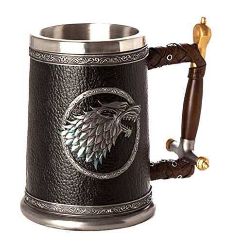 APQMR Assassins Creed Game Becher Edelstahl & Harz Becher 3D Kaffee Bier Trinkgeschirr Tasse Weihnachten Holloween Dekoration Trinkstütze-501-600 ml