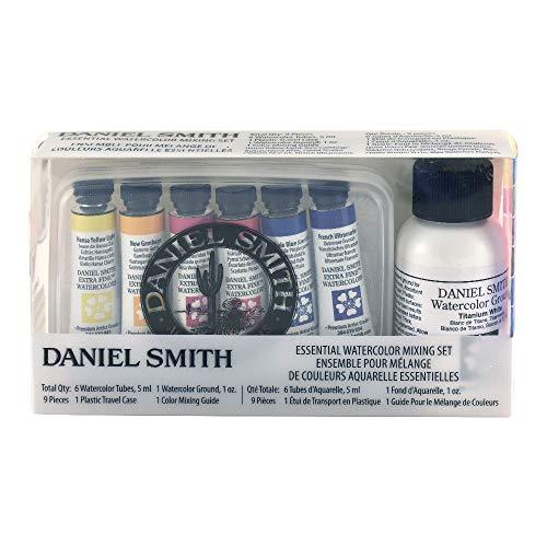 Daniel Smith aquarela, conjunto de mistura essencial com 5 ml de cores essenciais, 1 oz aquarela moído, guia de mistura e estojo de viagem de plástico (285610117)
