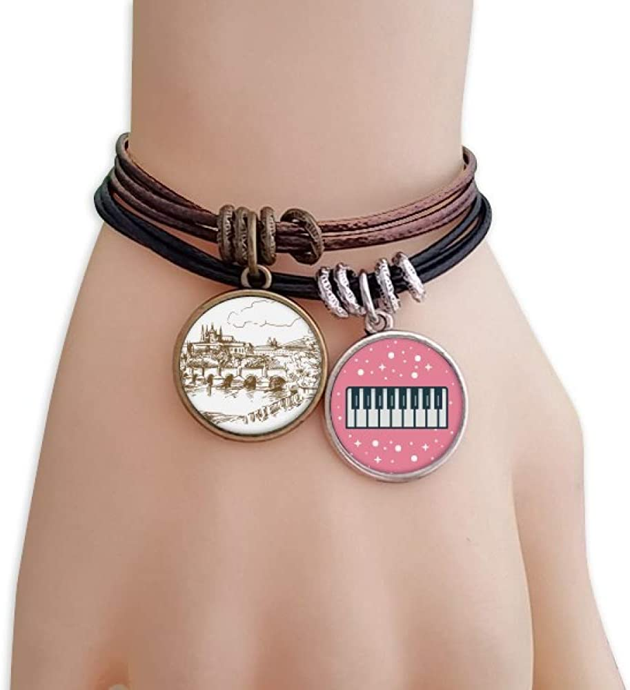 Charles Bridge Prague Czech Landmark Bracelet Rope Wristband Piano Key Music Charm