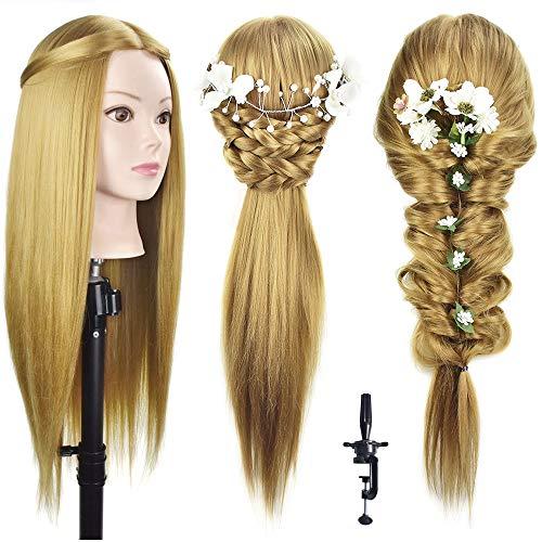 Testa di manichino per parrucchiere, con capelli in fibra sintetica lunghi 66-71 cm, con morsetto incluso, da esercitazione