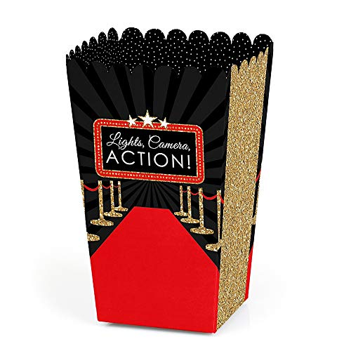 Big Dot of Happiness Red Carpet Hollywood - Movie Night Party Favor Popcorn Treat Boxes - Set of 12