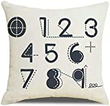 Socoz Funda de cojín para sofá, fundas para cojines de 45 x 45 cm, fundas decorativas, cojines de sofá, números árabes, estilo 11