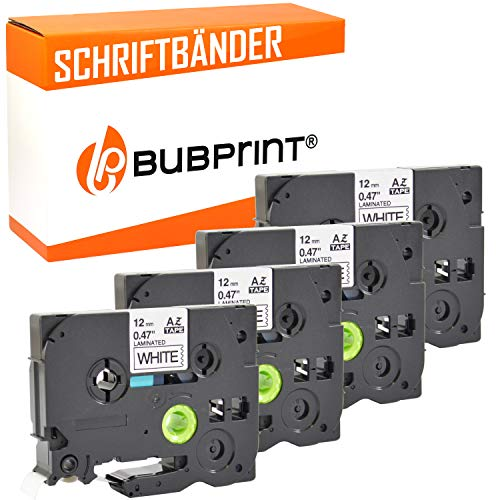 4 Bubprint Schriftbänder kompatibel für Brother TZE-231 für P-Touch 1000 1005 1010 1250 1280 1290 1290VP D200 D200BW D200BWVP D200VP D400 D400VP H100LB H101C H105 H105WB P700 900 Cube plus 12mm
