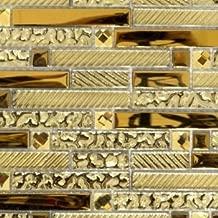 Nuorui Lot de 60 carreaux de mosa/ïque rectangulaires en verre en forme de brique Argent/é 2,5 x 5,1 cm 15mm x 35mm Silver