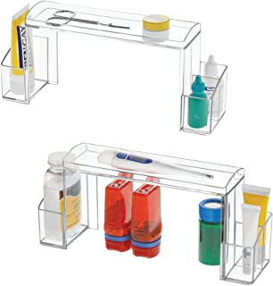 mDesign Small 2-Tier Plastic Medicine Cabinet High-Rise Storage Organizer - for Vitamins, Medical Supplies Makeup Door Shelf Organization - 2 Pack - Clear