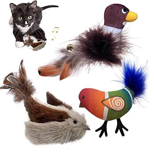 GingerUPer Katzenspielzeug Vogel, Katzen Plüschspielzeug, Interaktive Katzenspielzeug Feder, aus flauschigem Plüsch (3 Stück)