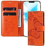 IMEIKONST Funda Compatible con OPPO Find X2 Pro, Cuero Estampado Magnetic Billetera Carcasa Vuelta Tapa Ranura Tarjeta Protección Cubierta para OPPO Find X2 Pro. Butterfly Orange KT