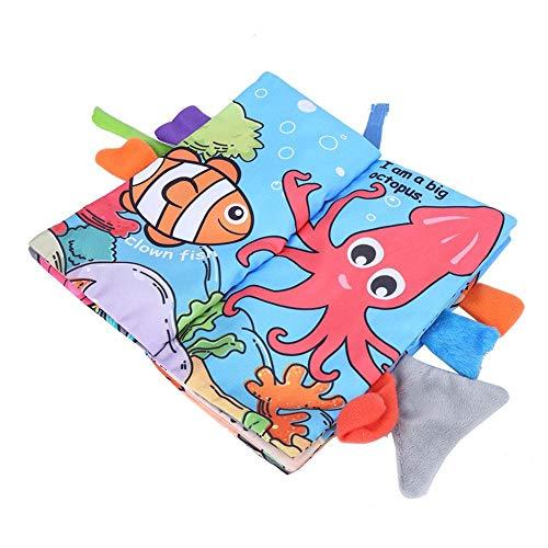 01 Mano de Obra Exquisita Libro de Tela Infantil Lindo, Libro de Tela Engrosada de Varias Capas, para bebés Que juegan en casa(Ocean Models)
