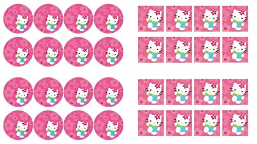 ALMACENESADAN 2490; Pack Hello Kitty; Compuesto por 16 Platos 23 cm; y 16 servilletas de Papel, Ideal para Fiestas y cumpleaños