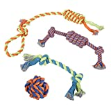 Dog Chew Rope Toys – Set of 4 Ropes - for Large, Small Teething Pets – All Puppy Breeds Aggressive Chewers – 100% Cotton for Natural Floss – with Ball, Tough Teething Rope, Tug-of-War & Fetching Bone